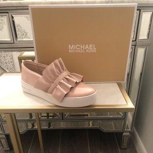 Michael Kors Leather Bella Slip On Pink Sneaker